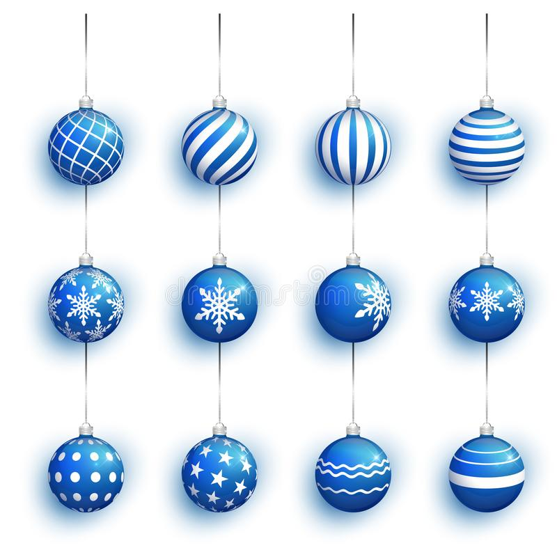 Blue Christmas ball set with snow effect. Stocking Christmas decorations. Blue Christmas tree toy set isolated . Xmas vector illustration