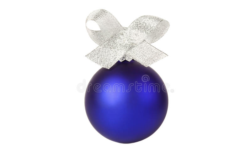 Blue christmas ball with silver ribbon royalty free stock photography