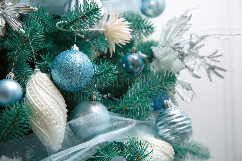 Blue christmas ball on a spruce. Branch royalty free stock photo