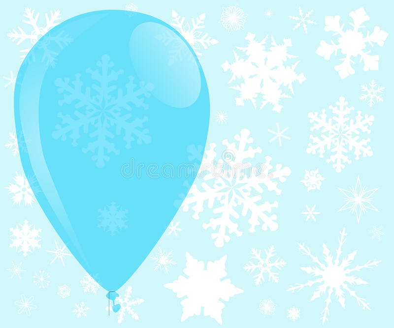 Blue Christmas Balloon. A large blue balloon surounded with falling snowflakes royalty free illustration