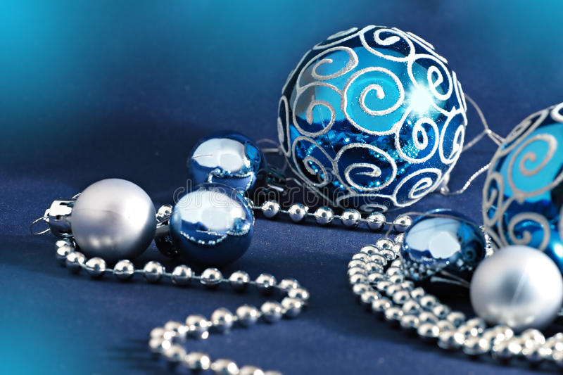 Blue Christmas balls and beads royalty free stock photo