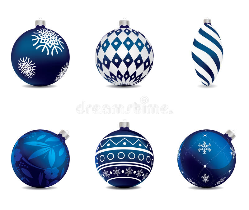 Blue christmas balls set on background. vector illustration