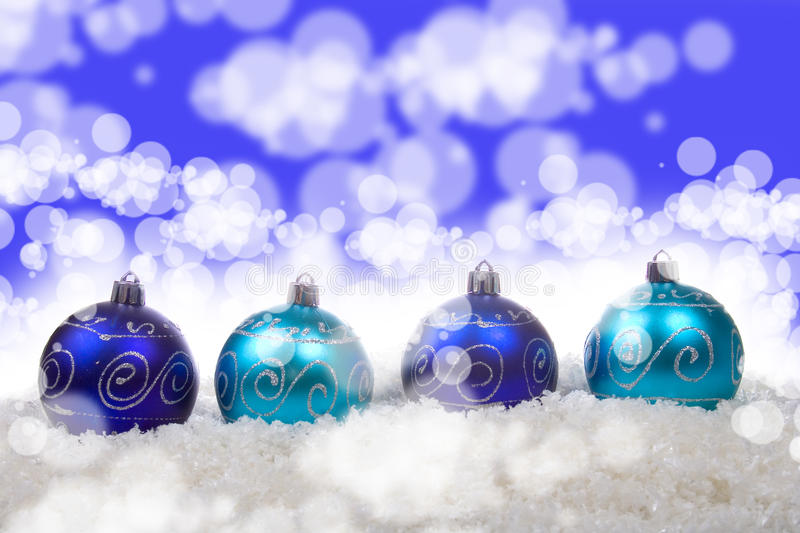 Download Blue Christmas Balls With Snow Stock Image - Image of close, hang: 20883041