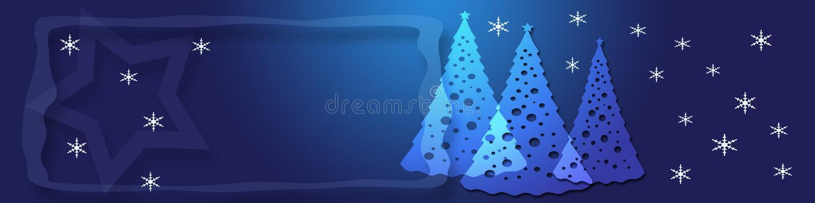 Blue Christmas banner. Banner / header with christmas trees, snowflakes and a big star in the background. There is room for text too stock illustration