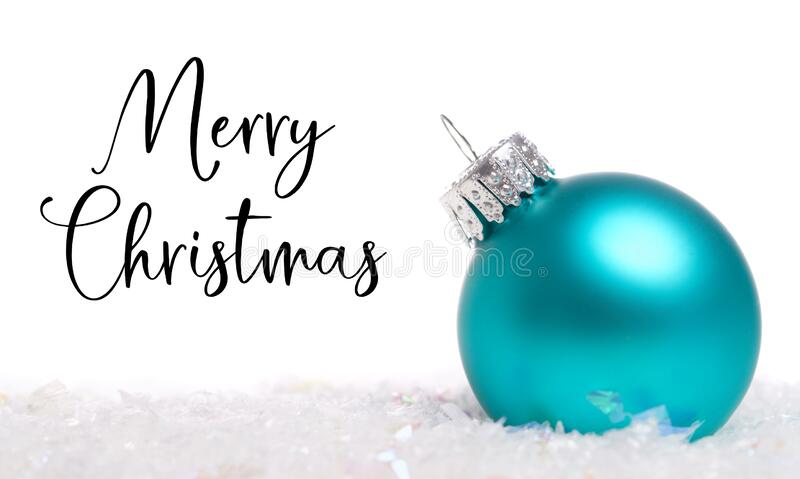 A blue Christmas bauble, ball or decoration on white background royalty free stock image