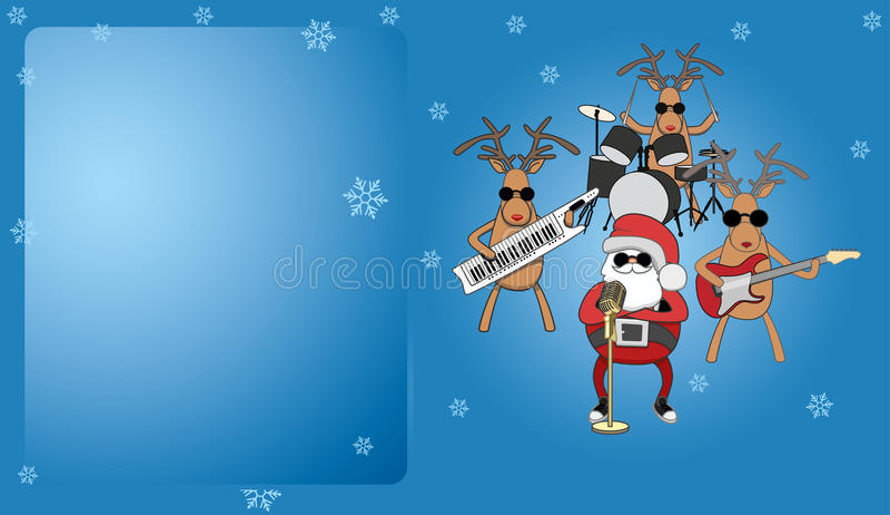 Blue Christmas card. Santa and reindeer musicians vector illustration