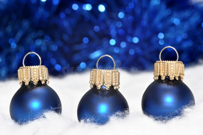 Blue christmas decorations stock photography