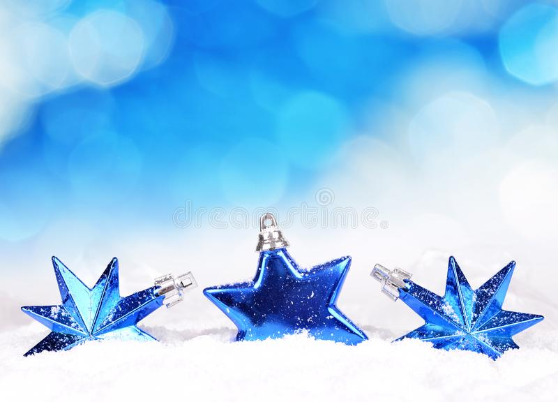 Blue Christmas decorations in the shape star. stock images