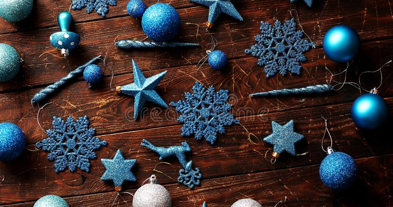 Blue Christmas decorations on table royalty free stock photography