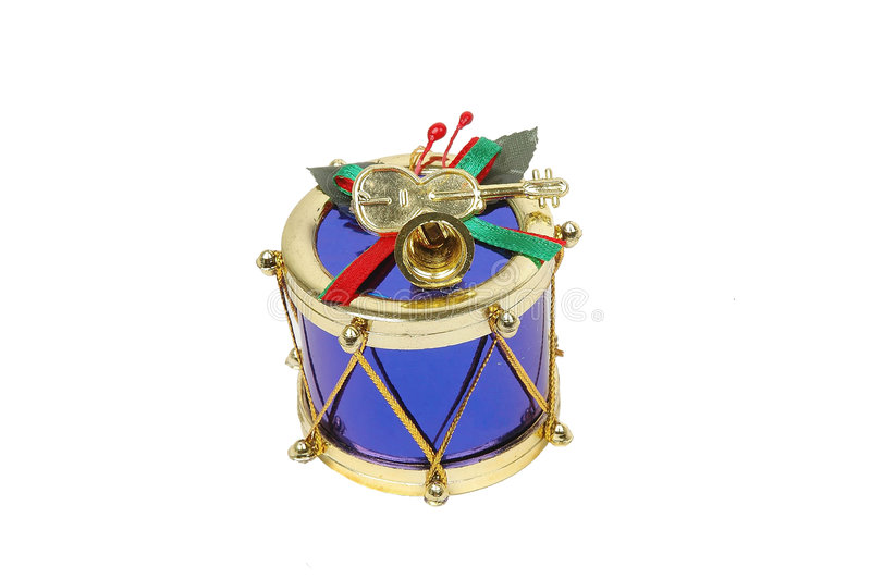 Blue christmas drum. Close-up stock images