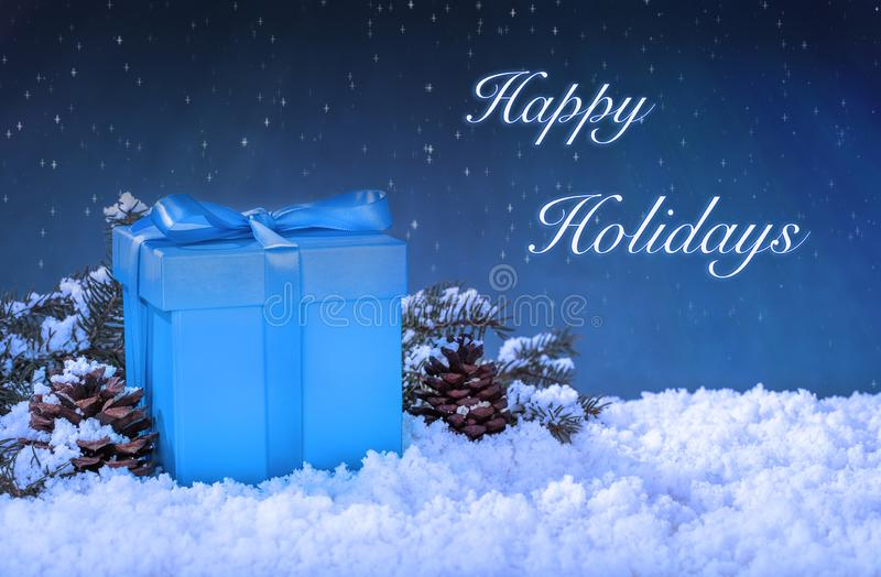 Blue Christmas Gift Box on a Stary Night royalty free stock photo
