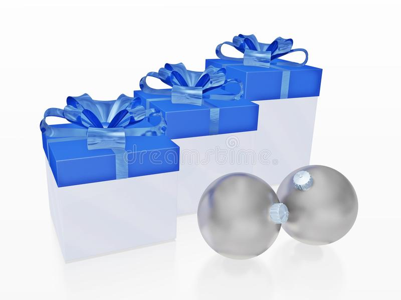 Blue Christmas Gifts and Silver Balls Baubles stock photos