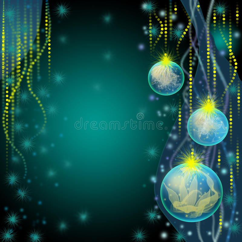 Blue christmas greeting card. With balls stock illustration