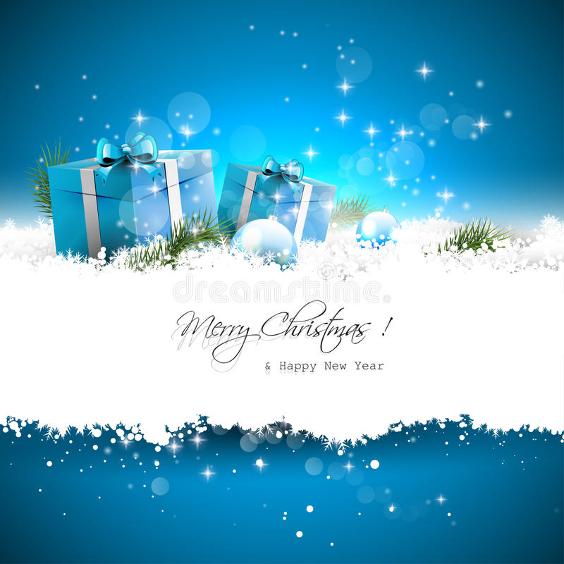 Blue Christmas greeting card vector illustration
