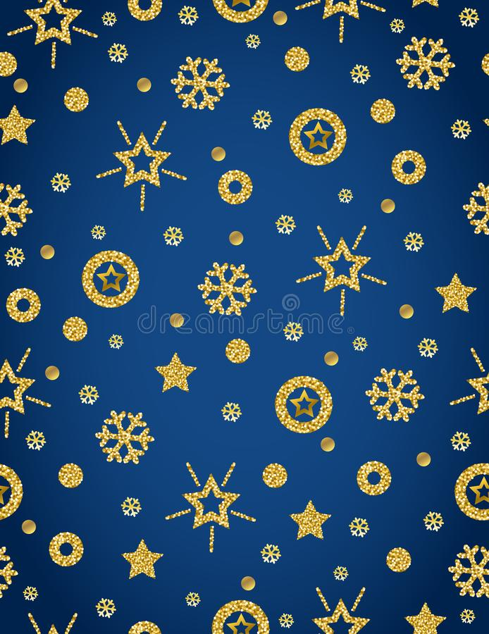 Blue Christmas pattern background with golden glittering snowflakes and stars, vector illustration stock illustration