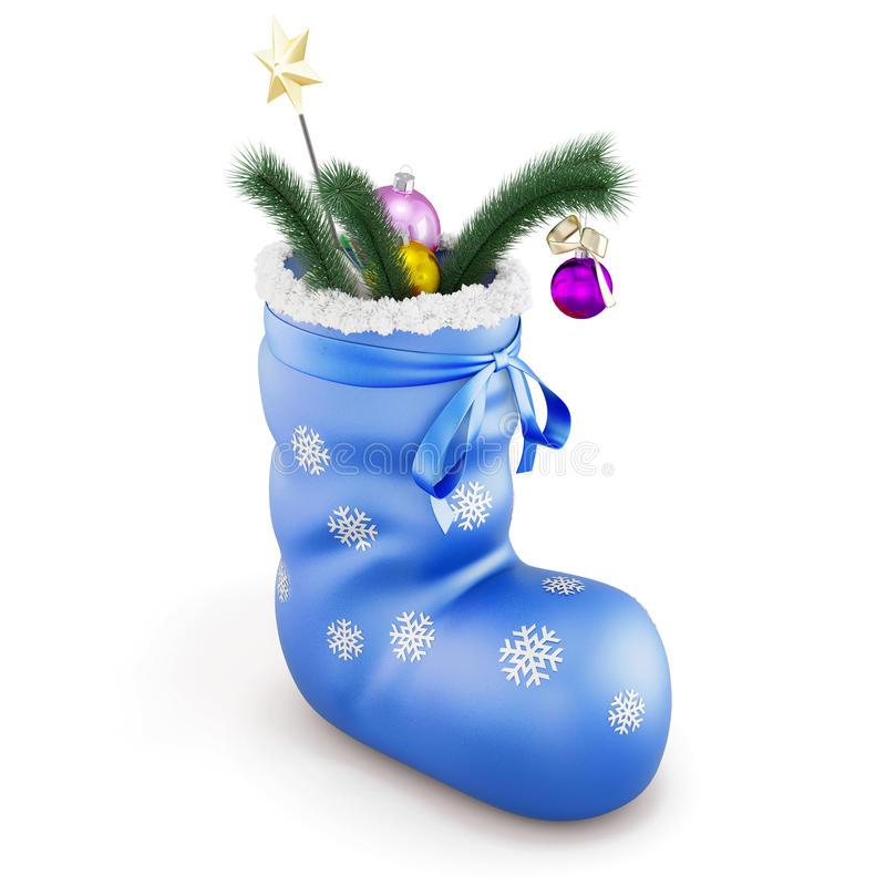 Download Blue Christmas Sock With Gifts  On White Background. 3d. Stock Illustration - Illustration of present, decorative: 63012150
