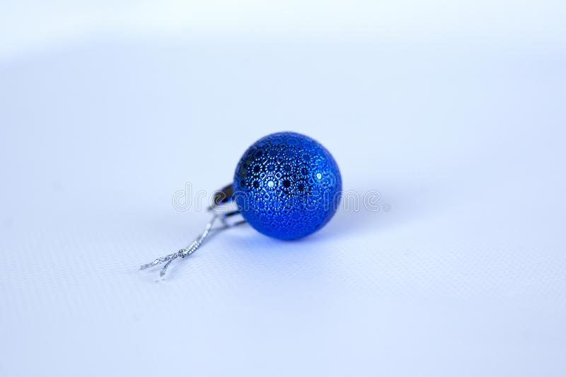 Blue christmas toy for christmas tree on white background. Close-up stock images