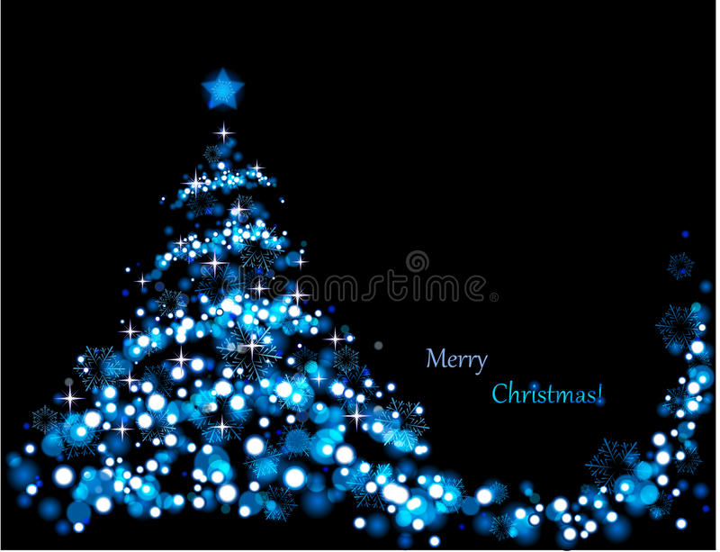 Blue christmas tree. The illustration contains the image of abstract christmas tree