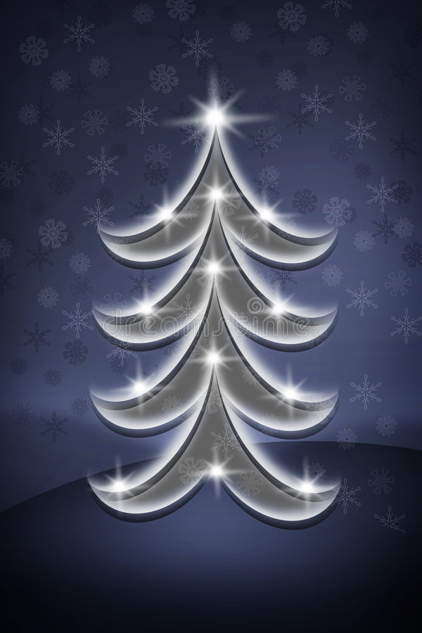 Blue Christmas tree vector illustration