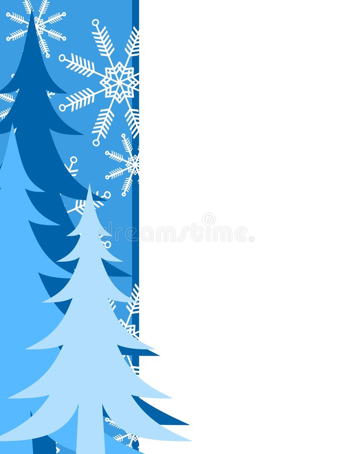 Blue Christmas Tree Border Stock Photography