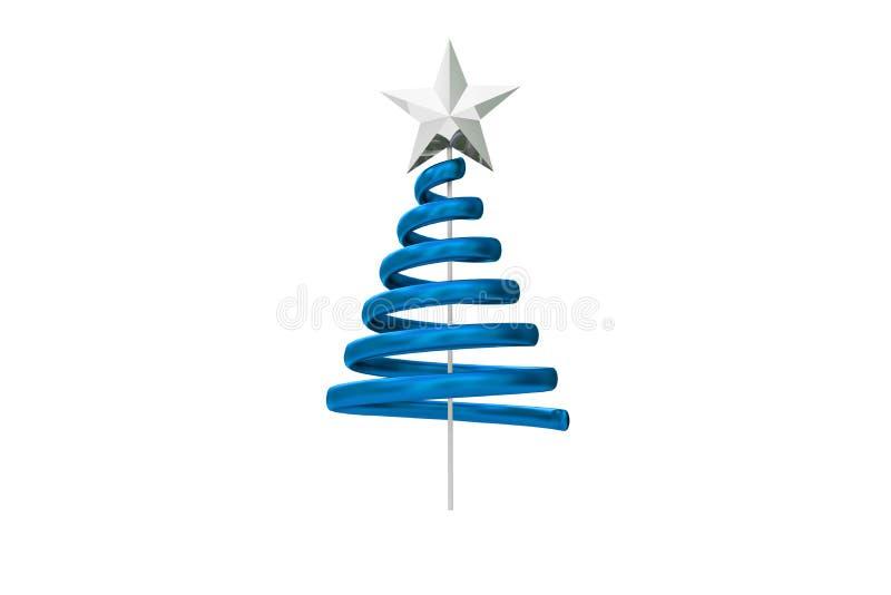 Blue christmas tree spiral design stock illustration