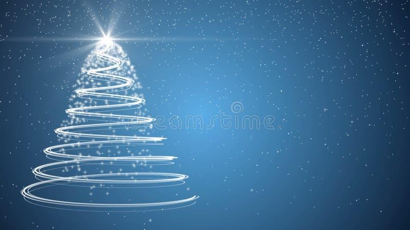 Blue Christmas Tree Xmas Holiday Celebration Winter Snow Animation Background