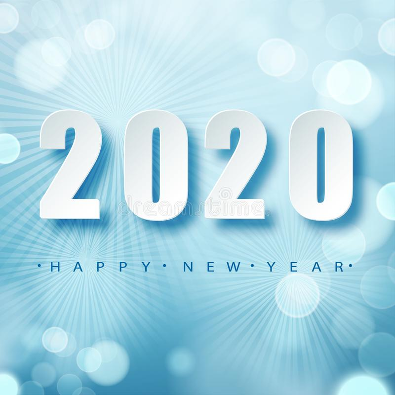 2020 Blue Christmas typography design. Winter season background with falling snow. Christmas and New Year poster royalty free illustration