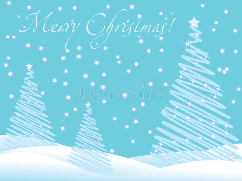 Blue christmas wallpaper with new year trees stock photo