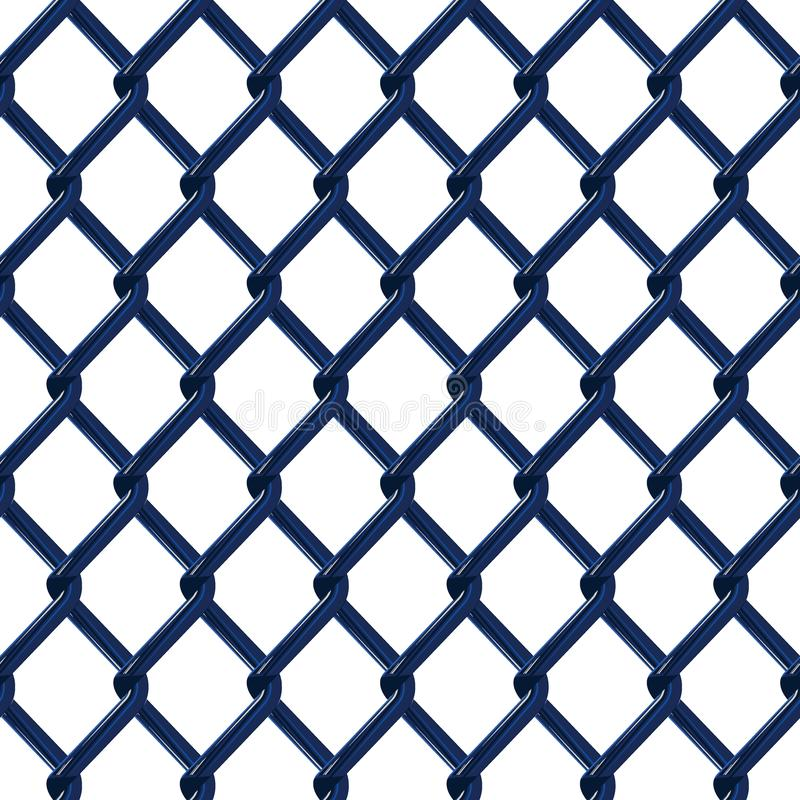 Blue chrome fence seamless structure. Chainlink isolated on white background. Vector illustration. EPS 10 royalty free illustration