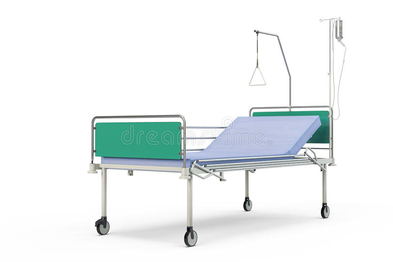 Blue and chrome mobile hospital bed with recliner. 3d illustration, isolated against a white background stock illustration