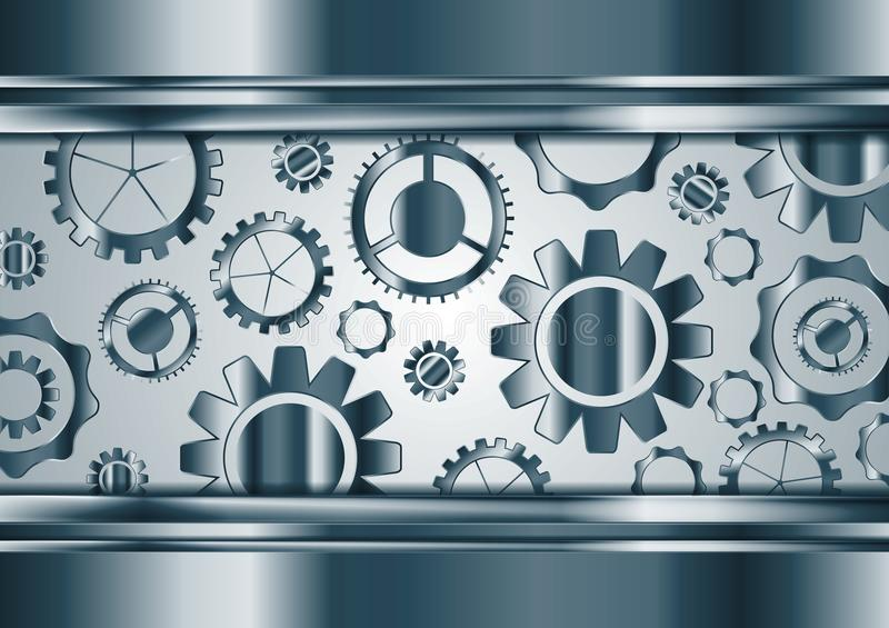 Blue chrome vector gears mechanism background vector illustration