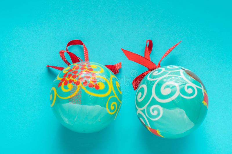 Blue chrstmas balls on blue background royalty free stock photos