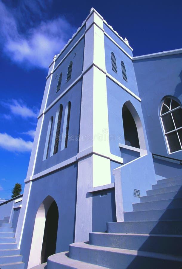 Blue church, Bermuda. royalty free stock image
