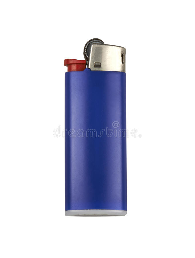 Blue cigarette lighter stock photos
