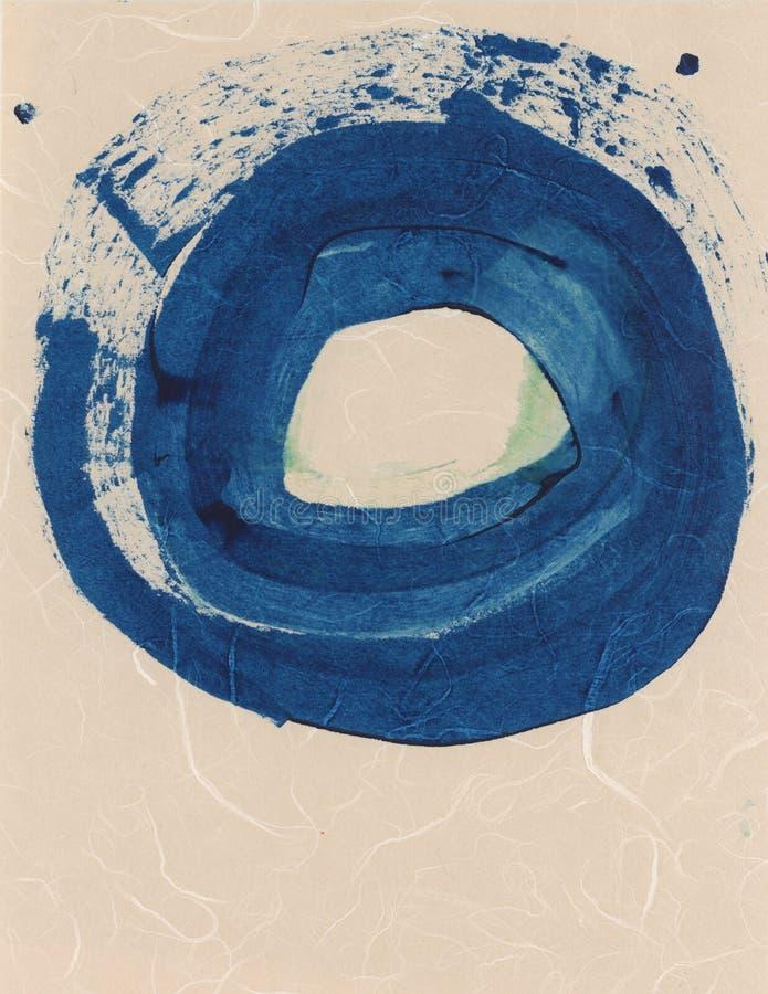 Blue Circle-Aquarell-Tinte masert abstrakte Malerei stock abbildung
