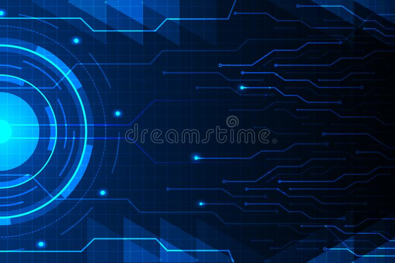 Blue circle and circuit line on abstract technology futuristic hud background vector design. Blue circle and circuit line on abstract technology futuristic hud stock illustration