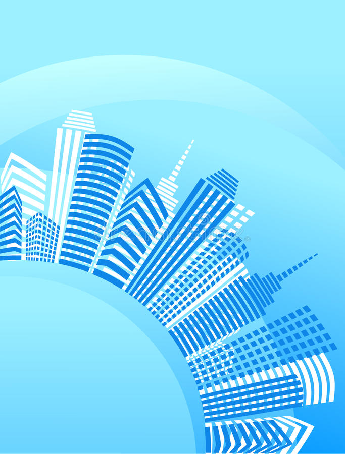 Download Blue Circle City With Office Buildings Stock Vector - Image: 11046416