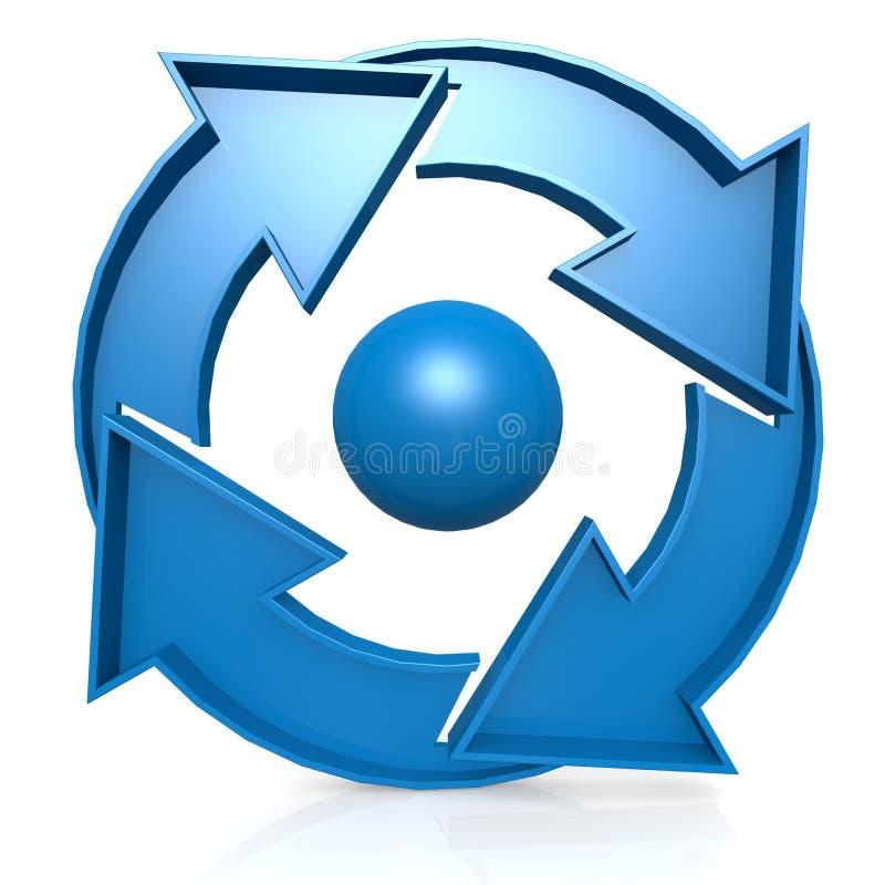 Blue Circle entwerfen mit 4 Pfeilen lizenzfreie abbildung
