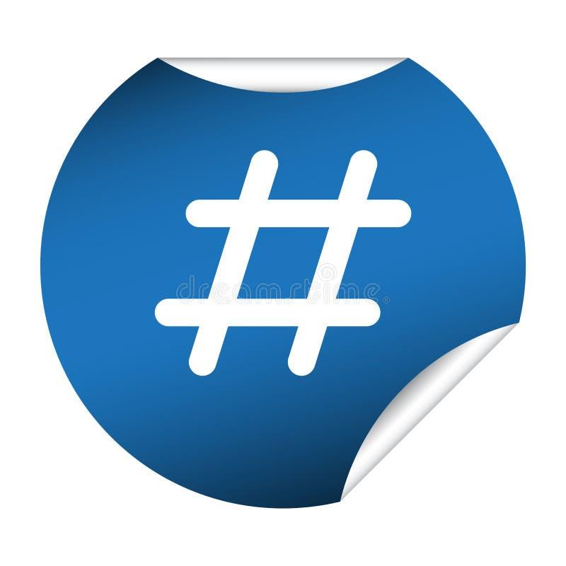 Blue Circle formade den Hashtag klistermärken stock illustrationer