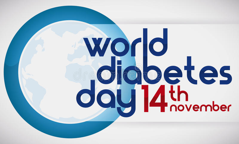 Blue Circle, Globe and Reminder Date of World Diabetes Day, Vector Illustration royalty free illustration
