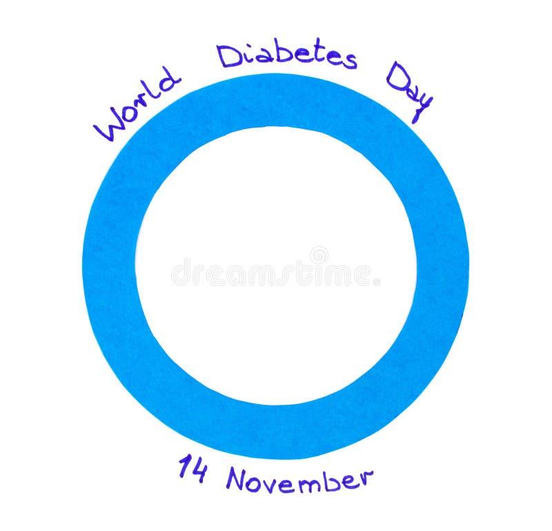 Blue Circle Of Paper On White Background Symbol Of World Diabetes