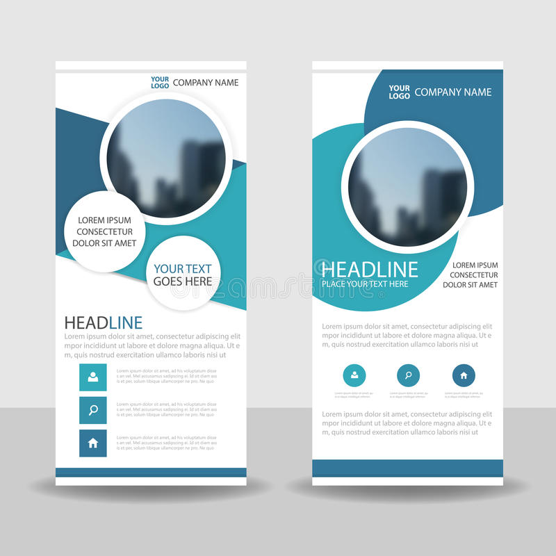 Blue Circle roll up business brochure flyer banner design , cover presentation abstract geometric background, modern publication vector illustration