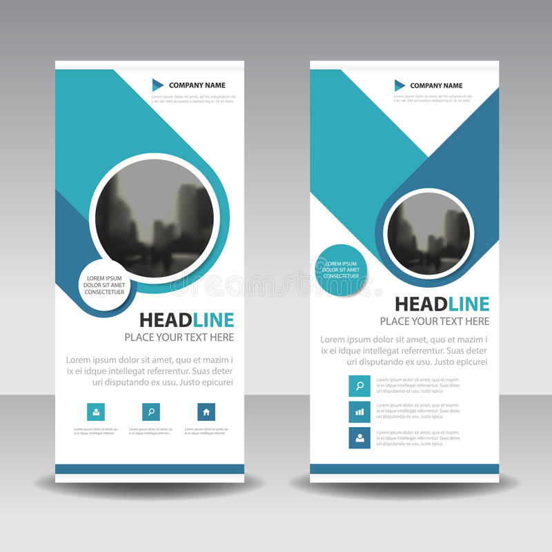 Blue circle roll up business brochure flyer banner design , cover presentation abstract geometric background, modern publication royalty free illustration