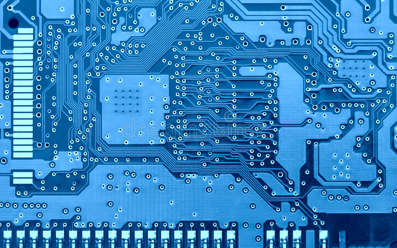 Blue circuit board. Circuit board super close-up toned in blue color stock image