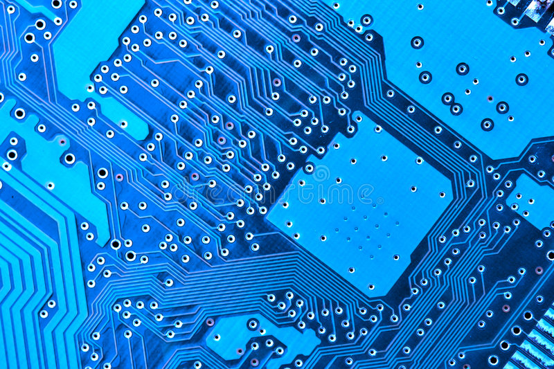 Blue circuit board. Macro, may be used as background royalty free stock photos