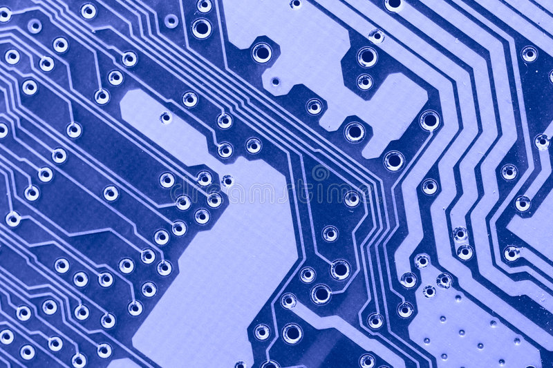 Blue circuit board macro. May be used as background stock images