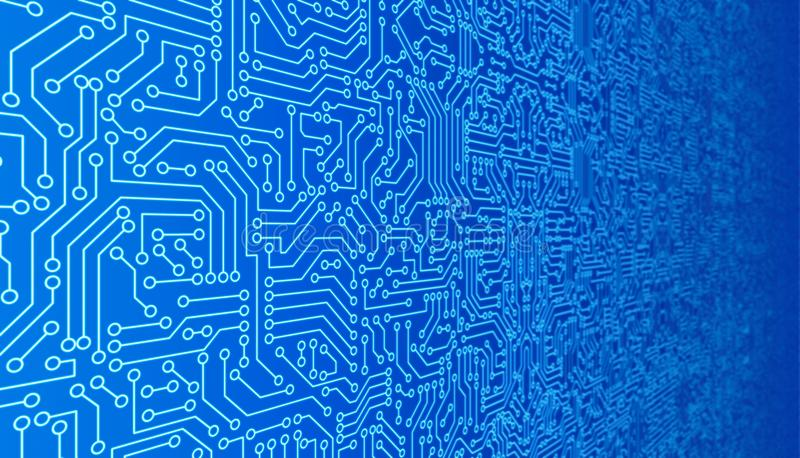 Blue circuit board pattern texture. High-tech background in digital computer technology concept. 3d abstract illustration. royalty free illustration