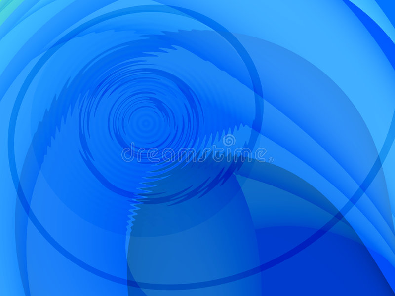 Blue circular background. This background has an interesting composition and smooth blue tones. In the spiral is a circular, waterlike part royalty free illustration