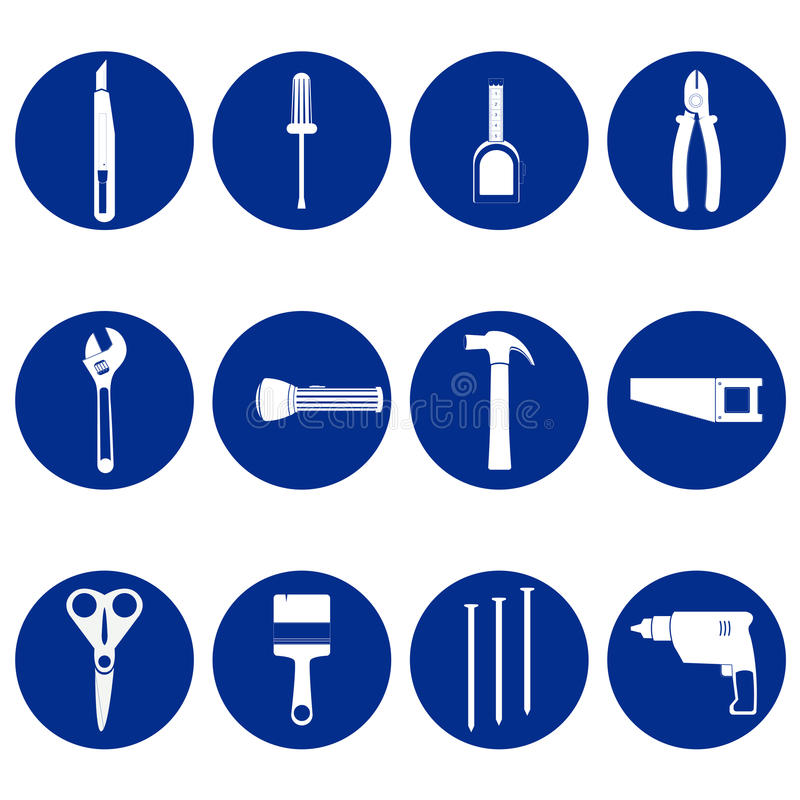Blue circular icons of tools vector illustration