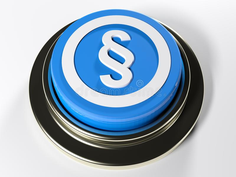 Blue push button with paragraph symbol - 3D rendering stock illustration